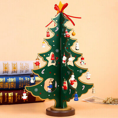 Wooden Christmas Tree with Pendant Ornaments Xmas Home Party New Year Decor Gift