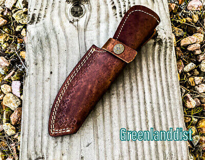 """8.5"""" Brown Handmade Real Leather Sheath For Fixed Hunting Blade Knife Engraved /"""