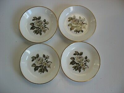 S/4 Royal Worcester White Roses Bone China Pin Dish Butter Pat Coasters England