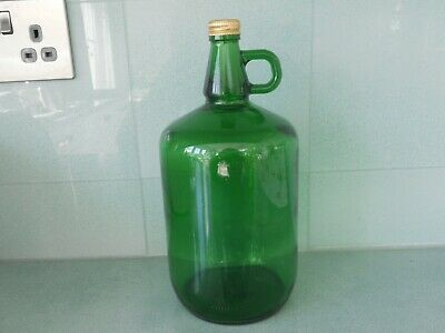 Large Dark Green Glass Bottle / Decanter / Jug With Handle And Screw Top