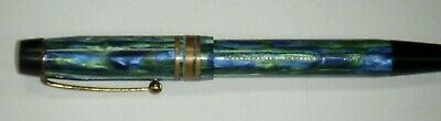 Vintage Golden Guinea 21 Green & Blue Marbled Fountain Pen