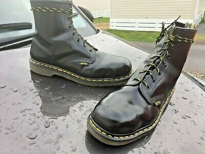 Dr Martens black leather boots UK 12 EU 47 Made in England steel toe