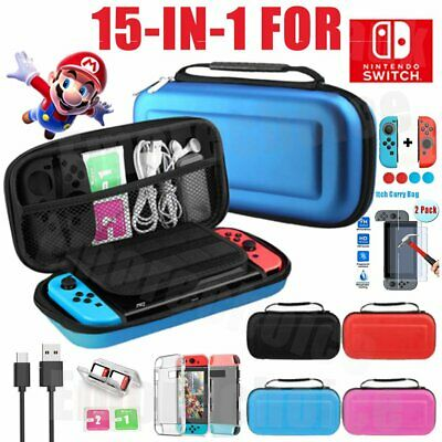 For Nintendo Switch Carrying Case Storage Bag+Screen Protector+Cover Accessories
