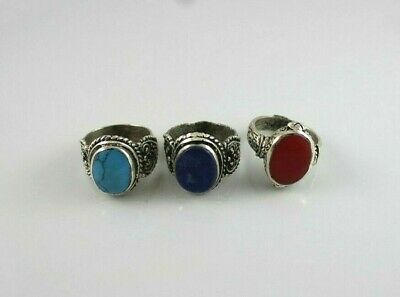 Lot Of 3 Antique Afghan Kuchi Rings Vintage Tribal Hancrafted Alpaca Silver Old