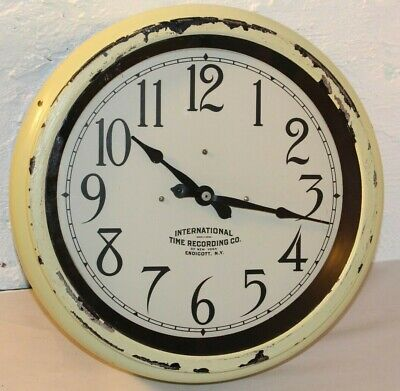 Antique International TIme Recording Endicott IBM Slave School office wall clock