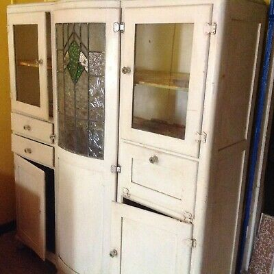 .Early Australian kitchen pantry, fair cond. pretty lead light, pick up, cash