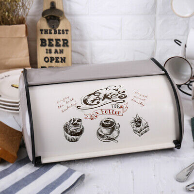 Bread Box Metal Bin Kitchen Container Cake Keeper Food Storage Roll Top Lid USA
