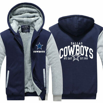 Jacket Zip Up Sweatshirt Dallas Cowboys Hoodie Football Fleece Coat Winter Warm