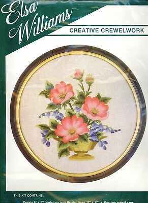 Elsa Williams Crewel Embroidery Kit Pink Flowers Wild Roses 00076 Linen Sealed