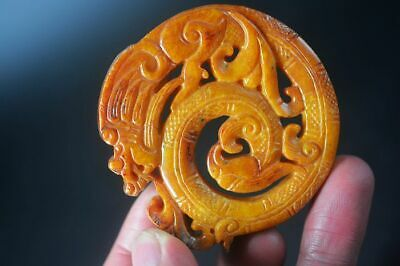 Delicate Chinese Old Jade Hand Carved *Dragon&Phoenix* Lucky Pendant H15
