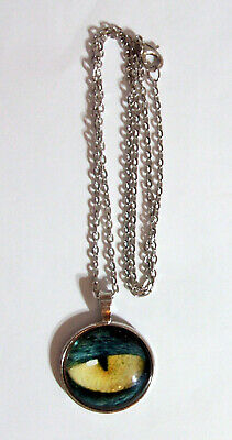 """PSQ2 - ANIMAL EYE PENDANT, Silver Plated Glass Domed PENDANT with 18"""" chain"""