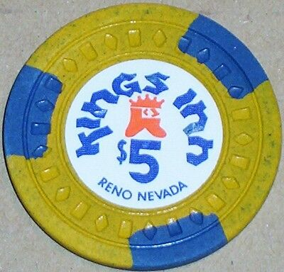 Old $5 KINGS INN Casino Poker Chip Vintage Antique Diamond Square Mold Reno NV