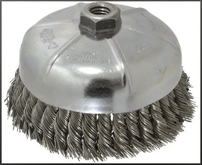 "Weiler 12376 - Knot Wire Cup Brush 12376 Single Row .023, 5/8""-11 UNC 6,600 RPM"