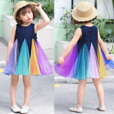 Toddlers Kids Baby Girls Casual Party Rainbow Vest Sleeveless Tutu Dress Outfit
