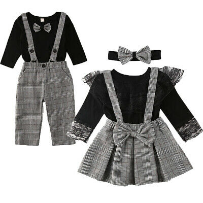 New Matching Clothes Little Brother Romper Overall Big Sister Skirt Outfits Set