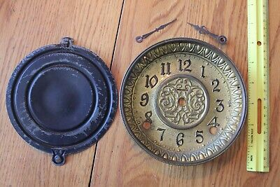 Antique E. INGRAHAM Clock dial face back & arm parts restore or STEAMPUNK Art