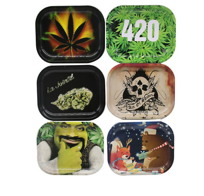 1pc X Mini Tinplate Rolling Tray Metal Plate Tray Smoking Holder Tobacco Access