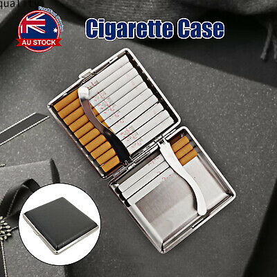 Stainless Steel+Pu Cigar Cigarette Tobacco Case Pocket Pouch Holder Box I