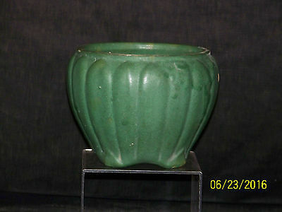Antique Zanesville Cucumber Glaze Ribbed Vase/Bowl Arts & Crafts Era