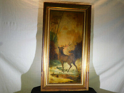 Antique Original Oil Painting on Artist Panel of Stag in the Wild