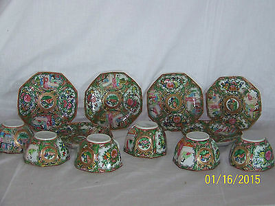 "Chinese Rose Medallion Antique c1800's 8 Sided Tea Cups & Saucer ""Set for 6"""