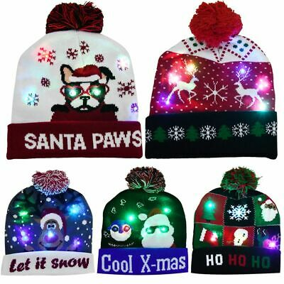 LED Christmas Party Beanie Christmas Santa Hat Light Up Knitted Hats Adult Kids