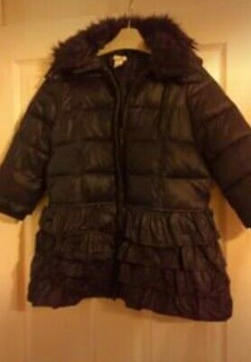 Girls Monsoon Navy Frilled Winter Dress Coat - Age 5 - 6 - Excellent Condition