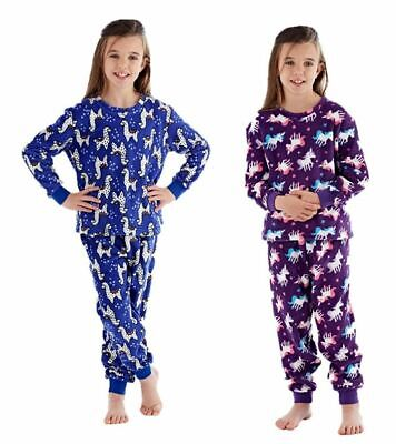 Girls Childrens Fleece Pyjamas Long Pajamas Unicorn Llama Set