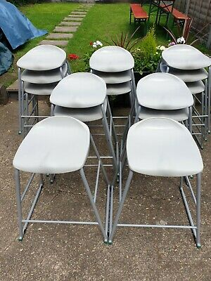 Vintage Retro Industrial Metal Stacking Lab/ Bar/ School Stools Can Deliver