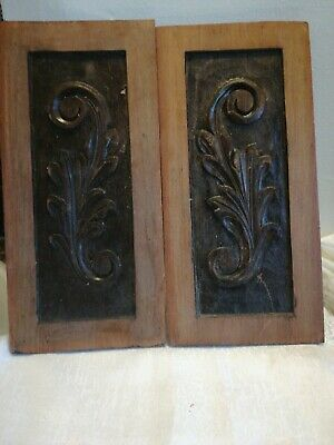 Victorian Carved Wooden Panel Plaque Antique French Old Wood Rococo
