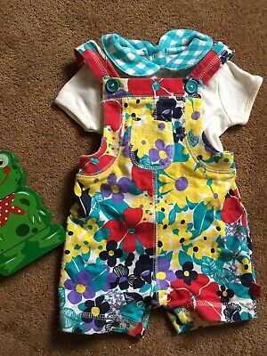 LITTLE BIRD BY JOOLS OLIVER Floral Romper/Short Dungarees. Age 0-3 Months