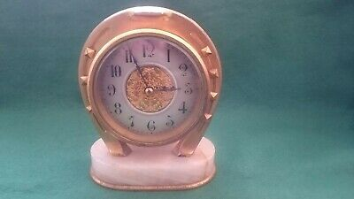 Antique Late 19Th Century Gilt Brass And Onyx Horseshoe Shape Clock
