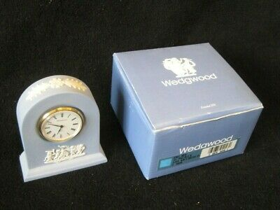 Wedgwood Blue & White Jasper Ware  Carriage Clock with Original Box