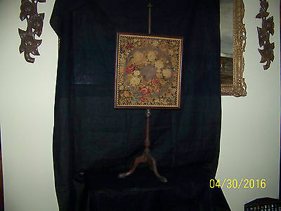Antique c1770's  Massachusetts Hand Done Floral Embroidery Pole Fire Screen