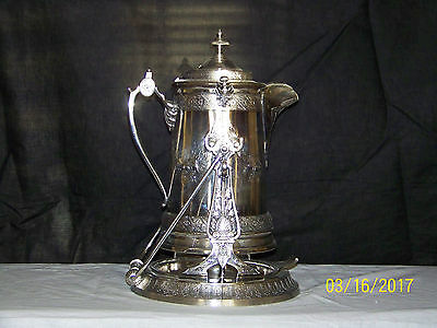 Antique Reed & Barton Silver Plated Porcelain Insert Tilting Water Pitcher