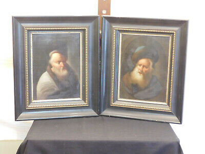 Antique c18th/19th Century Dutch Master Original Oil On Wood Panel Portraits #2