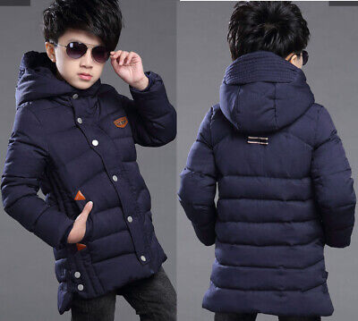 Kids Boys Hooded Warm Quilted Puffer Coat Jacket School Long Parka Snowsuits