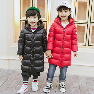 Boys Girls Kids Padded Coat Quilted Down Cotton Jacket Puffer Hooded Long Parkas