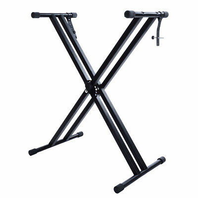 Adjustable Height Folding X Type Double-Braced Music Piano Keyboard Stand Black