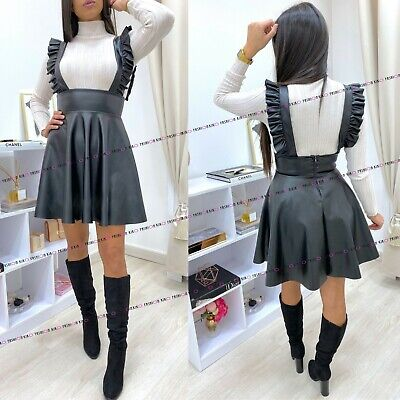 Women's Ladies PU Faux Leather Frill Ruffle Pinafore Flared Party Mini Dress Top