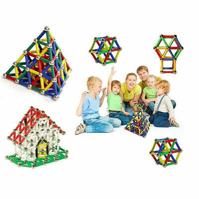 100+ Magnetic Building Blocks Construction Educational Kids Magic Toys Xmas Gift