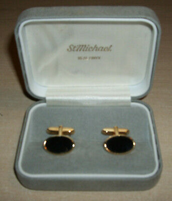 Vintage St Michael (Marks and Spencer) Black Onyx Gilt Cufflinks New & Boxed
