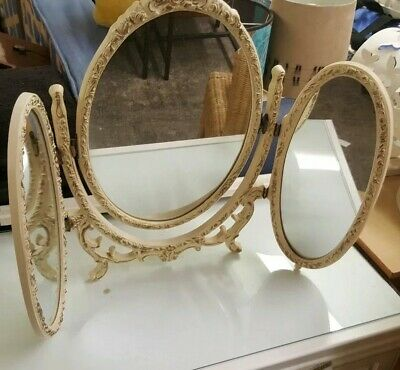 Ornate French Vintage dressing Table Mirror. Cast Iron.Antique retro Oval mirror