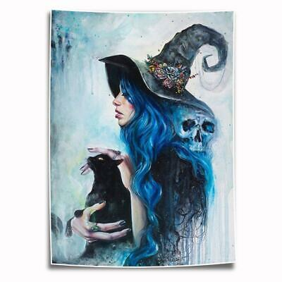 """8""""x12""""Witch and Cat Halloween HD Canvas prints Painting Home Decor Picture art"""