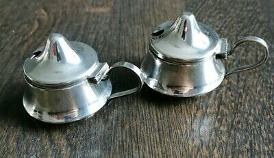 Beautiful, Vintage, Pair Of Silver Plated Table Salts With Handles.
