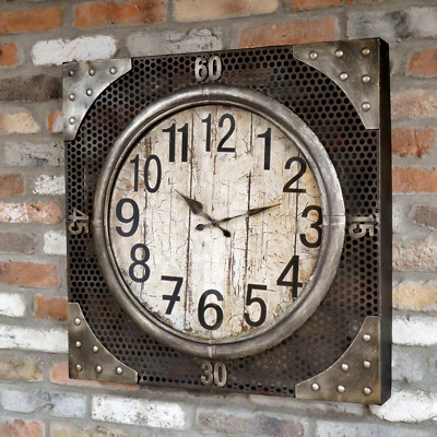 Large Industrial Factory Urban Wall Clock Rustic Metal Mesh Design 70cm Square