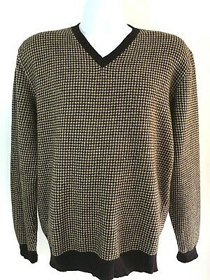 POLO Ralph Lauren 100% Lambswool Sweater Brown V Neck Mens Size L