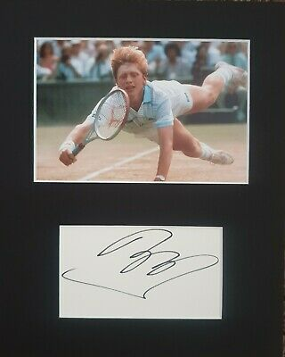 Wimbledon Tennis, 'Boris Becker' hand signed in person mounted autograph.