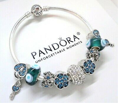 Authentic Pandora Bracelet Silver Bangle Crystal Heart With Teal European Charms
