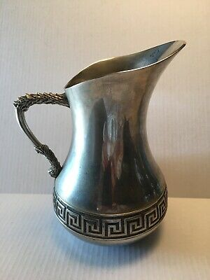 VINTAGE ITALIAN VERA LUCINO ORNATE SILVER PLATED PITCHER Greek Key Design